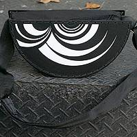 Recycled LP vinyl record handbag, 'Brazilian Beat' - Handmade Recycled Vinyl Record Shoulder Bag