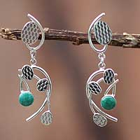 Chrysocolla chandelier earrings, 'Windblown Leaves' - Handcrafted Modern Sterling Silver and Chrysocolla Earrings