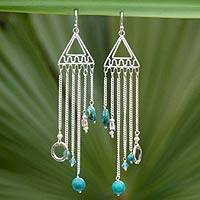 Pearl and chrysocolla chandelier earrings, 'Trapeze' - Pearl and chrysocolla chandelier earrings