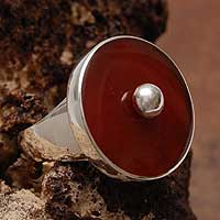 Carnelian cocktail ring, 'Nature' - Artisan Crafted Carnelian Cocktail Ring