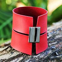 Leather wristband bracelet, 'Sexy Red' - Hand Crafted Modern Leather Wristband Bracelet
