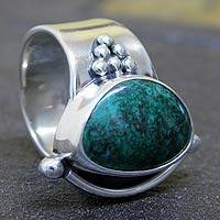 Chrysocolla cocktail ring, 'Taxco Mystique' - Chrysocolla cocktail ring