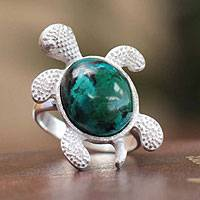 Chrysocolla cocktail ring, 'Trendy Turtle' - Handcrafted Chrysocolla Cocktail Ring