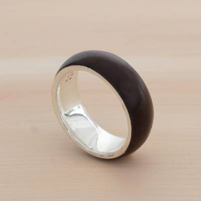 Men's jacaranda wood ring, 'Love of Nature' - Men's Wood and Sterling Silver Band Ring