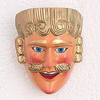 Pinewood mask, 'Spanish Man' - Handcrafted Cultural Folk Art Wood Mask