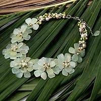 Cultured pearl and prehnite flower necklace, 'Elixir' - Hand Crafted Floral Prehnite Necklace