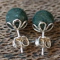 Dark green jade stud earrings,
