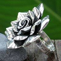 Silver cocktail ring, 'Forever Rose' - Artisan Crafted Floral Fine Silver Cocktail Ring
