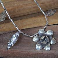 Sterling silver flower necklace, 'Single Blossom' - Hill Tribe Style Sterling Silver Flower Necklace