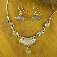 Rainbow moonstone jewelry set, 'Peaceful Sky' - Rainbow Moonstone Jewelry Set of Earrings and Necklace
