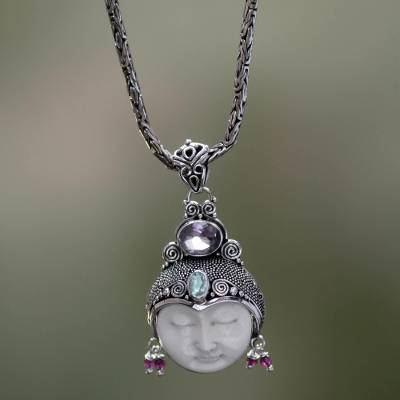 Amethyst and garnet pendant, 'Dreamer' - Unique Women's Sterling Silver and Amethyst Pendant