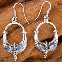 Moonstone earrings, Midnight Swings