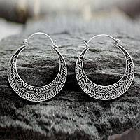 Sterling silver hoop earrings, Ancient Moonlight