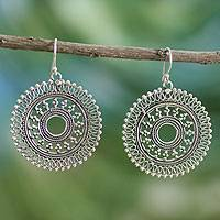 Sterling silver dangle earrings, Surya Sun