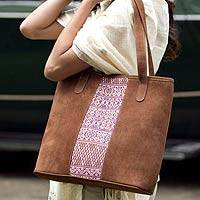 Leather tote handbag, 'Comalapa Art' (Guatemala)