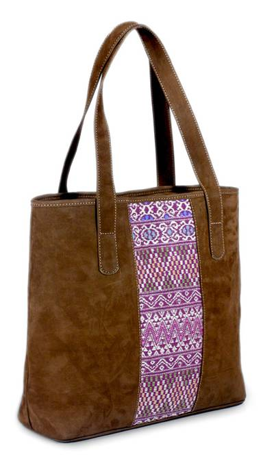 Leather tote handbag, 'Comalapa Art' - Fair Trade Leather and Embroidered Cotton Tote Bag