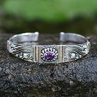 Amethyst cuff bracelet, 'Paradise' - Gold Accented Amethyst and Sterling Bracelet