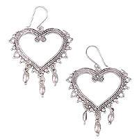 Sterling silver heart earrings, 'Heart of Frida' - Heart Shaped Sterling Silver Earrings from Mexico