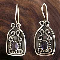 Amethyst drop earrings, 'Fine Wine' - Amethyst and Sterling Silver Drop Earrings from India