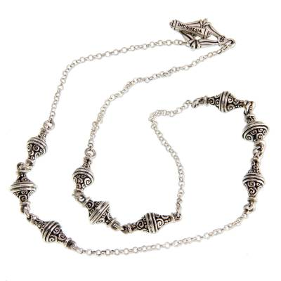 Sterling silver station necklace, 'Moonlit Stupa' (18 inch) - Indonesian Sterling Silver Station Necklace (18 Inch)