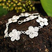 Silver flower bracelet, 'Rose of the Wind' - Silver flower bracelet