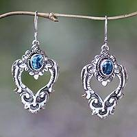 Blue topaz heart earrings, 'Bali Regal' - Blue Topaz and Sterling Silver Dangle Earrings