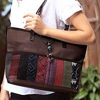 Leather and cotton handbag, 'Hill Tribe Chic in Brown' - Handcrafted Cotton Patchwork Shoulder Bag