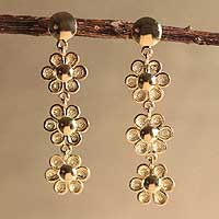 Gold plated flower dangle earrings, 'Marigolds' - Gold plated flower dangle earrings