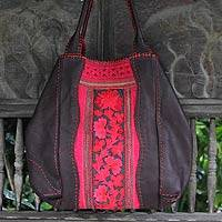 Leather and cotton hobo shoulder bag, 'Hmong Rose' - Leather and cotton hobo shoulder bag