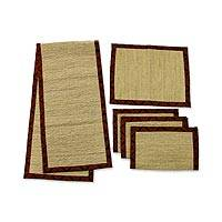 Natural fiber table runner and placemats, 'My Batik' (set for 4) - Natural Fiber Table Runner and Placemats (Set for 4)