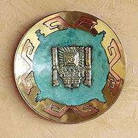 Copper and bronze plate, 'Inca Lord Creator' - Copper and bronze plate