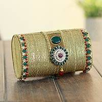 Beaded brass evening bag, 'Mughal Gold' - Beaded brass evening bag