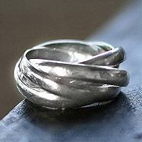 Sterling silver band ring, 'Five to One' - Sterling Silver Band Ring