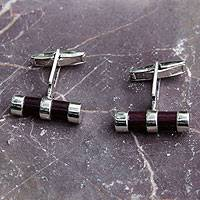 Sterling silver and wood cufflinks,