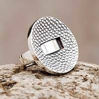 Sterling silver cocktail ring, 'Modern Dots' - Textured Silver Handmade Cocktail Ring