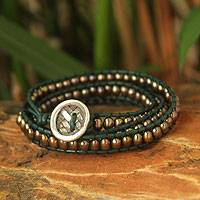 Leather and cultured pearl wrap bracelet, 'Green Honey' - Pearl and Leather Wrap Bracelet