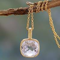 Gold vermeil quartz pendant necklace, 'Modern Charm' - Hand Made Gold Vermeil Faceted Quartz Necklace