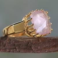 Gold vermeil rose quartz single stone ring, 'Spell of a Rose' - Rose Quartz and Gold Vermeil Ring from India