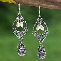 Amethyst and pearl flower earrings,