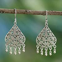 Sterling silver dangle earrings, 'Indian Tree of Life' - Sterling Silver Earrings from India Jewelry Collection