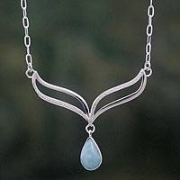 Amazonite and sterling silver pendant necklace, Turquoise Dew