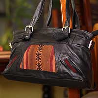 Leather and wool shoulder bag, 'Inca Legacy' - Leather and wool shoulder bag