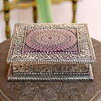 Brass and brocade jewelry box, 'Midnight Mandala' - Hand Crafted Floral Brass Jewelry Box