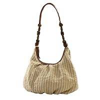 Leather accent cotton hobo bag, 'Destined Surprise' - 100% Cotton Shoulder Bag with Leather Accents and Ceramic