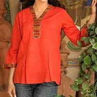 Cotton blouse, 'With Passion' - Hand Made Cotton Embellished Tunic Top