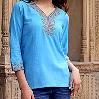 Cotton blouse, 'Blue Floral' - India Handwoven Cotton Blouse