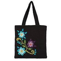 Wool tote bag, 'Sky Bouquet' - Blue Embroidery Flowers on Black Wool Tote Bag with 1 Pocket