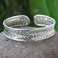 Sterling silver cuff bracelet, 'Together' - Woven Sterling 925 Silver Cuff Bracelet