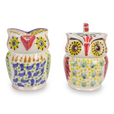Majolica ceramic sugar and creamer set, 'Owl Companions' - Majolica Sugar and Creamer Set Hand Crafted of Ceramic