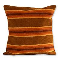 Wool cushion cover, 'Ginger Trend' - Wool cushion cover